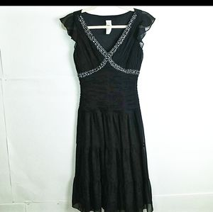 Sangria black rooched sequin bodice fit & flare 6